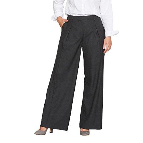 Flannel Wide Leg Trousers (Castaluna Womens Wide Leg Flannel Trousers With Darts Grey Size Us 16 - Fr 46)
