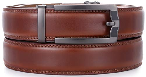 Mio Marino Ratchet Belts for Men - Genuine Leather Dress Belt - Automatic Buckle (Business Classic - Burnt Umber, Adjustable from 28
