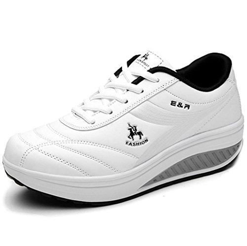 Solshine Damen Hochwertige Sneaker Plateau Schnürer Keilabsatz Runners Turnschuhe Laufschuhe Schwarz Weiss White