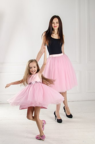 Tafetta Bow (Matching pink outfits Mother daughter matching tutu dresses, Mommy and me pink dress skirt with sequin gold bow, party dress, birthday dress)