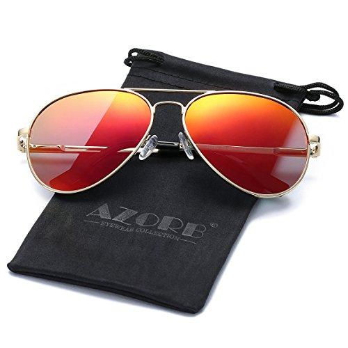 Spring Hinge Gold Frame - AZORB Polarized Aviator Sunglasses for Men Women Metal Frame Spring Hinges (Gold/Red Mirrored, 58MM)