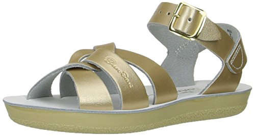 Salt Water Sandals by Hoy Shoe Girls' Sun-San Swimmer Flat Sandal, Gold, 7 M US Toddler ()