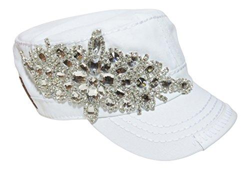 (Spirit Caps Rhinestone Large Motif Design Cadet Cap Hat Headwear Military)