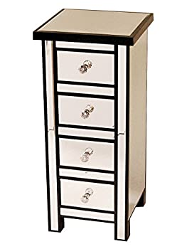 Heather Ann Creations Handcrafted Wood with Beveled Mirror Finish 4 Drawer Storage Chest Console, 31.5""