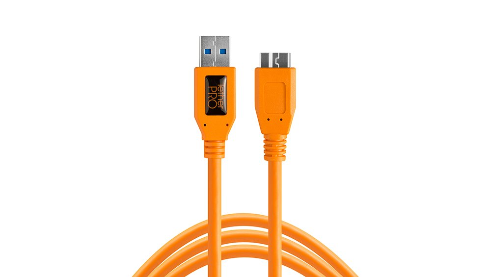 TetherPro USB 3.0 SuperSpeed Micro-B Cable, 15 feet, High-Visibility Orange by Tether Tools