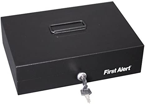 First Alert Steel Cash Box with Money Tray 3026F Black Free Shipping New