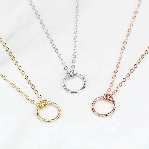 4946ae7beee362 Amazon.com: Dainty Karma Circle Necklace with Hammered Texture, Made ...