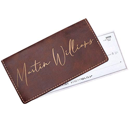 (Personalized Checkbook Cover For Women & Men Customizable With Names Custom Check Holder Wallet |Leatherette Personal Check Cover 5 Different Color Option #15)