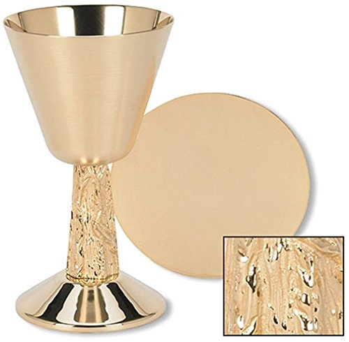Stratford Chapel Gold Tone Satin Cup with Hand Cast Vine Stem Chalice and Paten Set, 7 1/4 ()