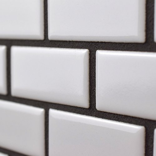 SomerTile FKOVBS11 Marion Subway Porcelain Mosaic Floor and Wall Tile, 11.875'' x 12'', Glossy White by SOMERTILE (Image #5)