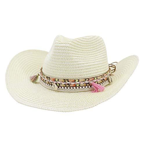 (Women's Woven Straw Cowboy Hat w/Beaded Trim Band Hat Beach Holiday Sun Hats-B Creamy White )