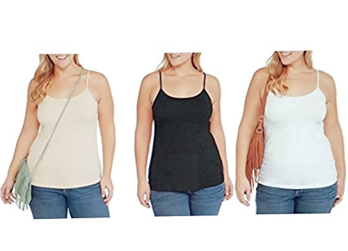 Faded Glory Set of 3 Women's Basic Essential Knit Layering Cami (Black White Khaki, 5X) from Faded Glory