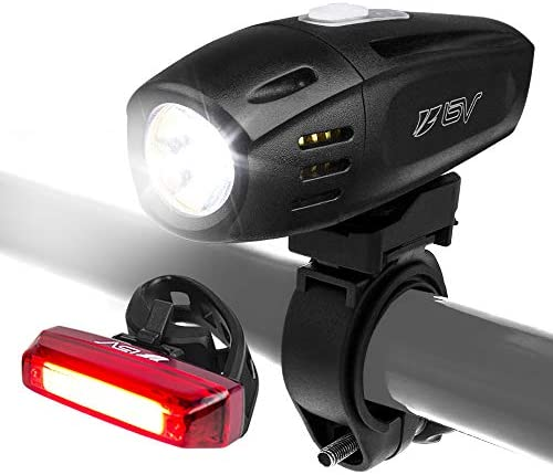 BV Super Bright 300 Lumens USB Rechargeable Bike Headlight with Free Taillight 1300mAh Lithium Battery Water Resistant IP44 – Fits All Bicycles, Easy Install Quick Release- 1 Year Warranty
