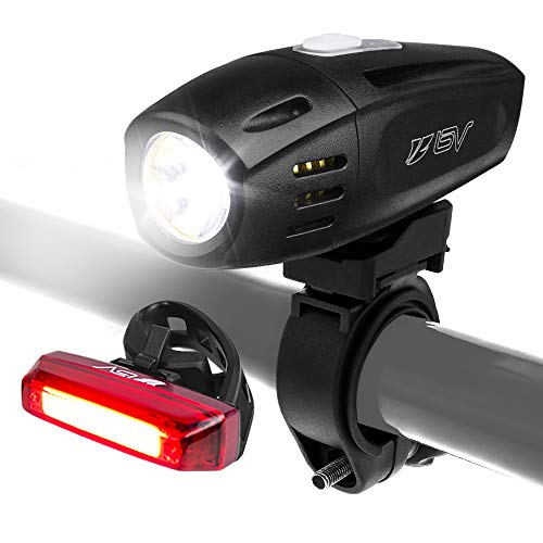 BV Super Bright (300 Lumens) Rechargeable Bike Light Set (With Low Battery Indicator)