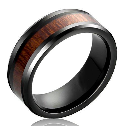 Mens Womens 8mm Black Tungsten Carbide Ring KOA Wood Vintage Wedding Engagement Promise Band Comfort Fit Size (Art Deco Wedding Band Platinum)