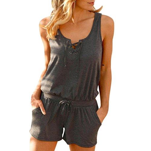 ❀Todaies Hot Sale Summer Fashion Vest Women Bandage Jumpsuits Vest Tank Top Casual Playsuit Short Pants 2018 (S, Deep Gray) (Today Sale)