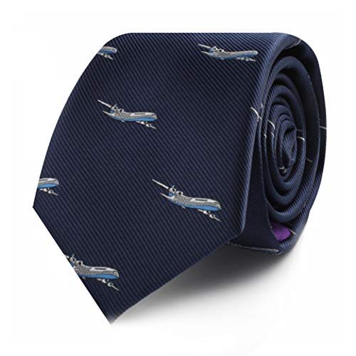 Airplane Tie for Him | Gift for Pilot Captain Plane Lover | Woven Skinny Neckties | Present for Work Colleague | Bday Gift for Guys (Aeroplane)