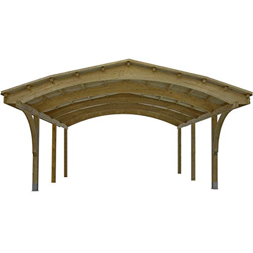 LIVEOUTSIDE Nevada - Double Wooden Carport - Black or Green Felt Tile Cover. Dimensions: 607cm x 616cm, Height: 340cm Jagram