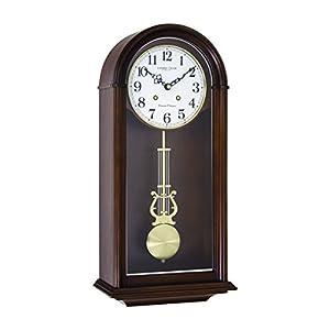 Madera de cuarzo/Batería Westminster/Whittington carillón reloj de pared con péndulo, Control de volumen y silencio nocturno opcional por London Clock 24379