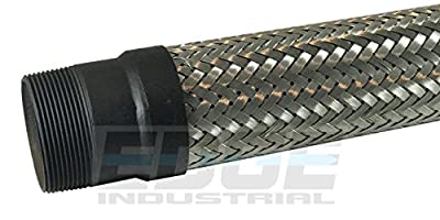 """INDUSTRIAL GRADE HEAVY DUTY FLEXIBLE METAL HOSE CONNECTOR ( MADE IN USA ) 2"""" MALE NPT ENDS x 12 inch TOTAL LENGTH STAINLESS STEEL BRAIDED FLEX"""