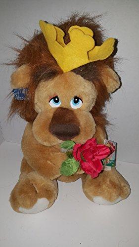 Vintage 1988 Applause Lionheart Plush w Crown Rose & Tag 80s Stuffed Animal (1980s Rose)