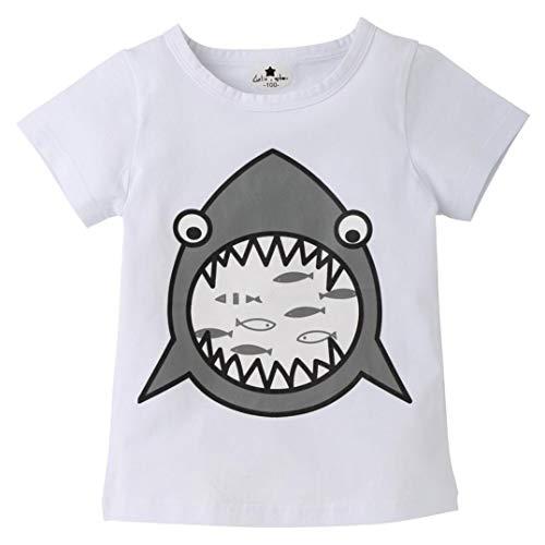 - 2018 Clearance Unisex Children Baby Short Sleeve Cartoon Shark Print Crewneck T-shirt Tops Tee Home Wear Clothes (White, 3T(2-3 Years))