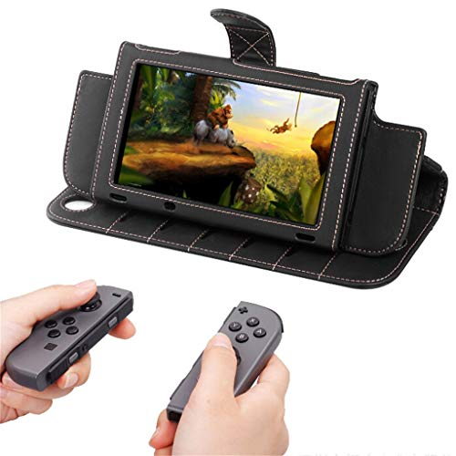 Price comparison product image Leather Nintendo Switch Case Cover with Wrist Strap and Lanyard Screen Protector (black)