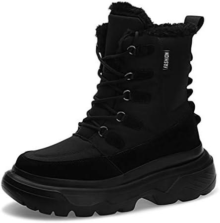 スノーブーツ秋冬靴 スキーブーツメンズ 厚底 歩きやすい 編み上げ ショートブーツ ハイキングシューズ ローヒール シンプル 軽量 黒 裏起毛 疲れない 痛くない 防水 デザート レインブーツ