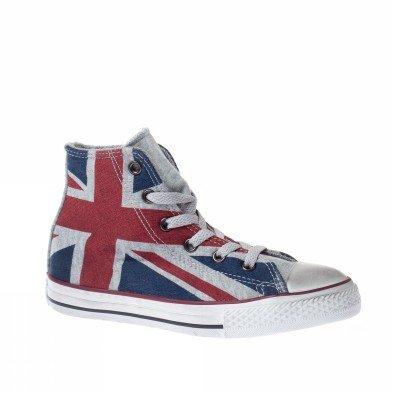 6acb8fe9757 Converse Baskets CT Hi-Flag UK pour Femme Motif Drapeau Anglais Tela  635496C - Gris