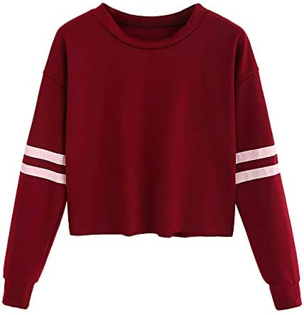 Women's Fashion Casual Long Sleeve Stripe Printing Round Neck Sweatshirt Pullover Outerwear Shirt Blouse Tops