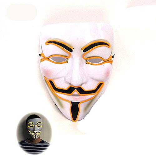 Halloween Scary Mask LED Light Up Masks Adult Sound Induction Flash Sound Induction Flash Sound Induction Flash (yellow-21179CM/Voice Switch) ()