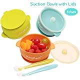 Baby Bowls with Lids, Best Suction Bowls for Baby Toddler self-Feeding, 100% Safe Leak-Proof Silicone Bowl with Lid…