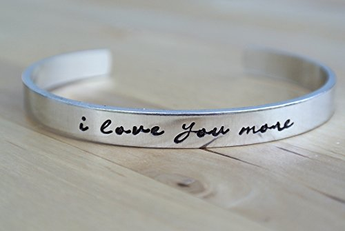 Hand Stamped Jewelry Gifts For Her I Love You More Hand Stamped Bracelet Aluminum Jewelry Girlfriend Gift I Love You More Bracelet