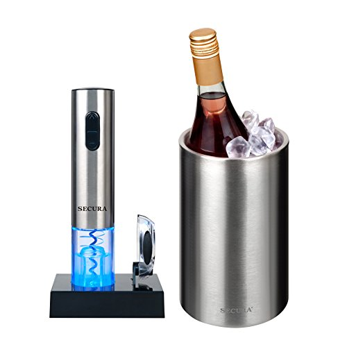 Secura Stainless Steel Electric Wine Opener Corkscrew Bottle Opener with Foil Cutter (Stainless Steel) … (Gift Set 5pc)