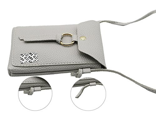Strap 8 Crossbody 2 with J7 iPhone Grey PU Bag Note Slim Plus Edge S8 Samsung Purse Small 5 Women Shoulder 7 Layer X S7 for Plus Leather LefRight Pouch vYqw57nT