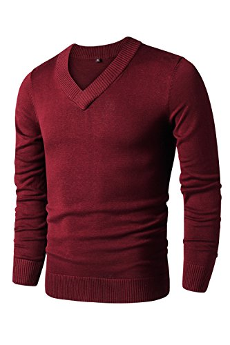 LTIFONE Mens Slim Comfortably Knitted Long Sleeve V-Neck Sweaters (XL,Red) by LTIFONE