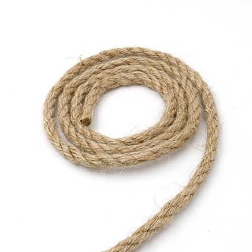 - 65 Feet 6mm Jute Rope 4 Ply 100% Natural Thick Jute Hemp Rope Strong String Craft Twine for DIY & Arts Crafts,Christmas Gift Packing Bundling