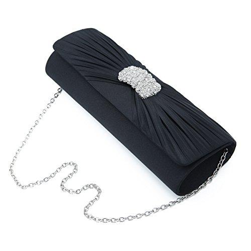 Diff ovale plissé Couleurs Satin soirée pochette élégante croix avec de TrendsBlue Noir strass vqCtSS