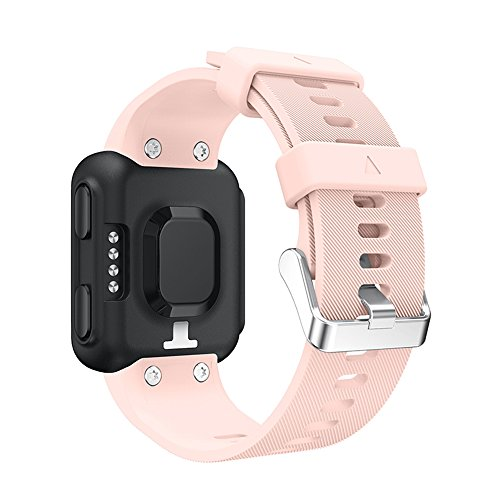 for Garmin Forerunner 35 Watch Band, Soft Silicone Replacement Sport Wristband Silicagel Watch Band Strap (Pink)