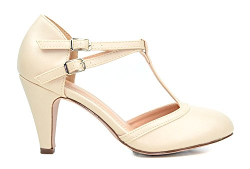 Chase & Chloe Kimmy-58 Womens Double Buckle T-Strap Retro Pump Nude 6HThkg