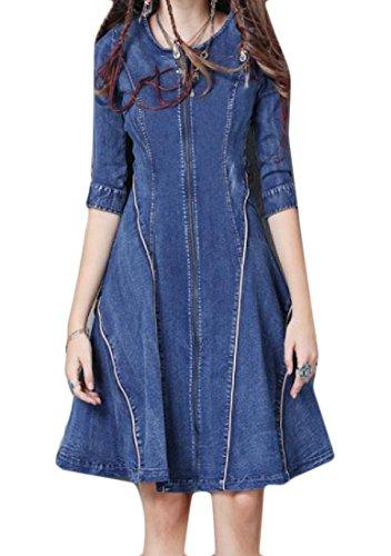 Zipper Women 1 Neck Denim Scoop Vintage Comfy Dresses Half Sleeve 1wydq0S0