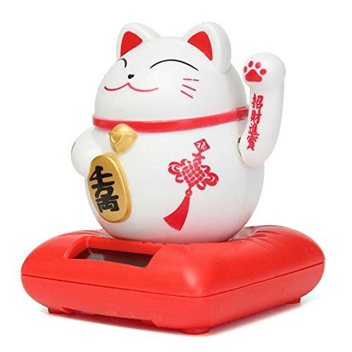 Beckoning Cat Costume (Solar Powered Maneki Neko Welcoming Lucky Beckoning Hands Waving Fortune Cat Hotel, Restaurant Decor Craft White/Red)
