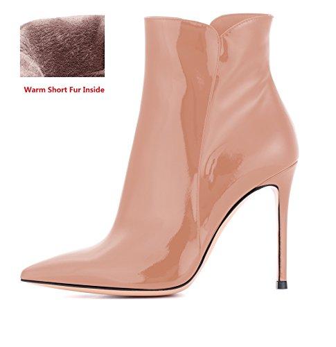 Alto Da Stivali Donna Scarpe Caviglia Moda Tacco Inverno Beige Con Edefs q51YwUx