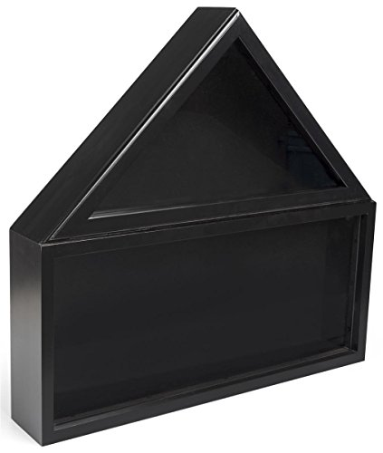 Displays2go, Commemorative Flag and Awards Case, Pine Wood, Tempered Glass, and Felt Construction – Black Finish (FC59MEDBK)