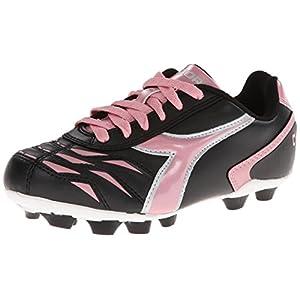 Diadora Capitano MD JR Soccer Shoe (Little Kid/Big Kid), Black/Pink, 4 M US Big Kid