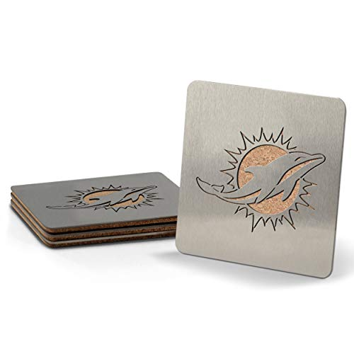 NFL Miami Dolphins Boaster Stainless Steel Coaster Set of 4