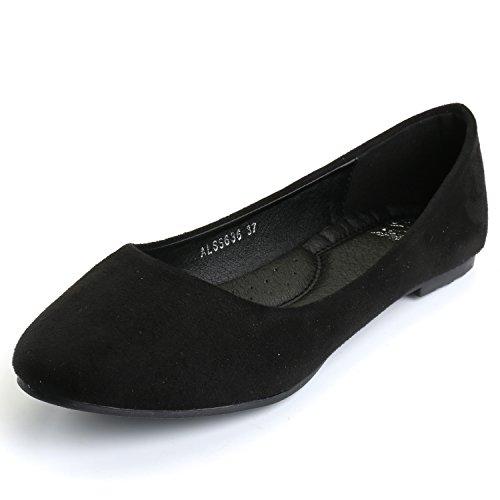 Alexis Leroy Women's Comfort Pointy Toe Ballet Slip On Suede Flats Black 38 M EU/7-7.5 B(M) US - 1/2' Platform Shoe