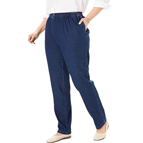 Middle Waist Elastic - Woman Within Women's Plus Size Elastic-Waist Cotton Straight Leg Pant - Indigo, 16 W