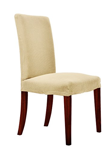 CHUN YI Waterproof Dining Chair Covers Stretch Jacquard Polyester Spandex Small Checks Anti-Stain Washable Dining Room Parsons Chair Slipcovers (2 Pieces, Light Yellow)