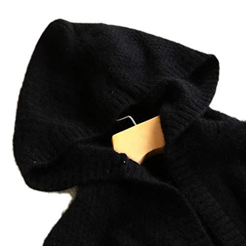 Molif Autumn Winter Hooded Coat Cashmere Cardigan Sweater Women's Coat Thick Soft Cardigan Coat Long Black One Size
